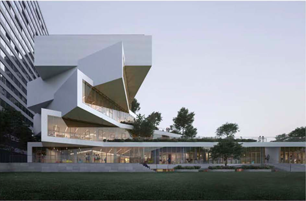 Exterior rendering of new school
