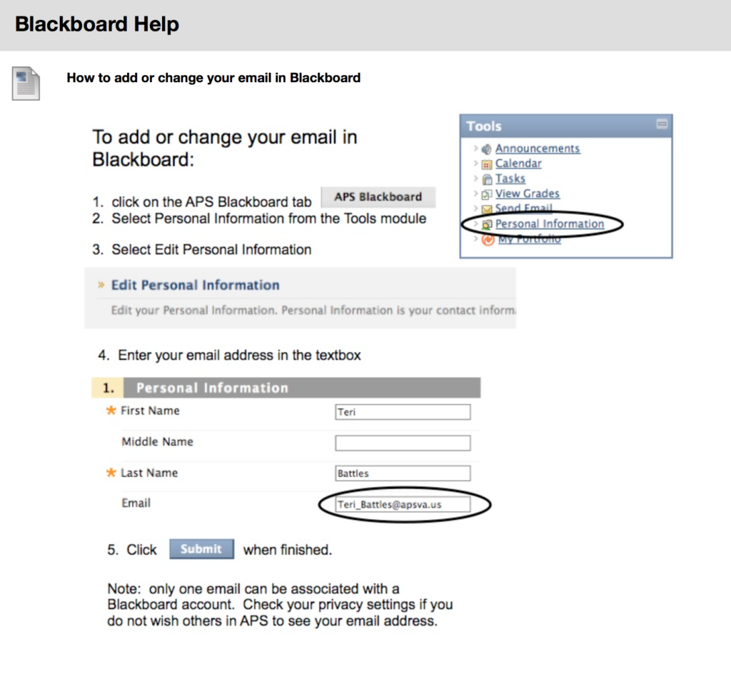 How to change your email in Blackboard