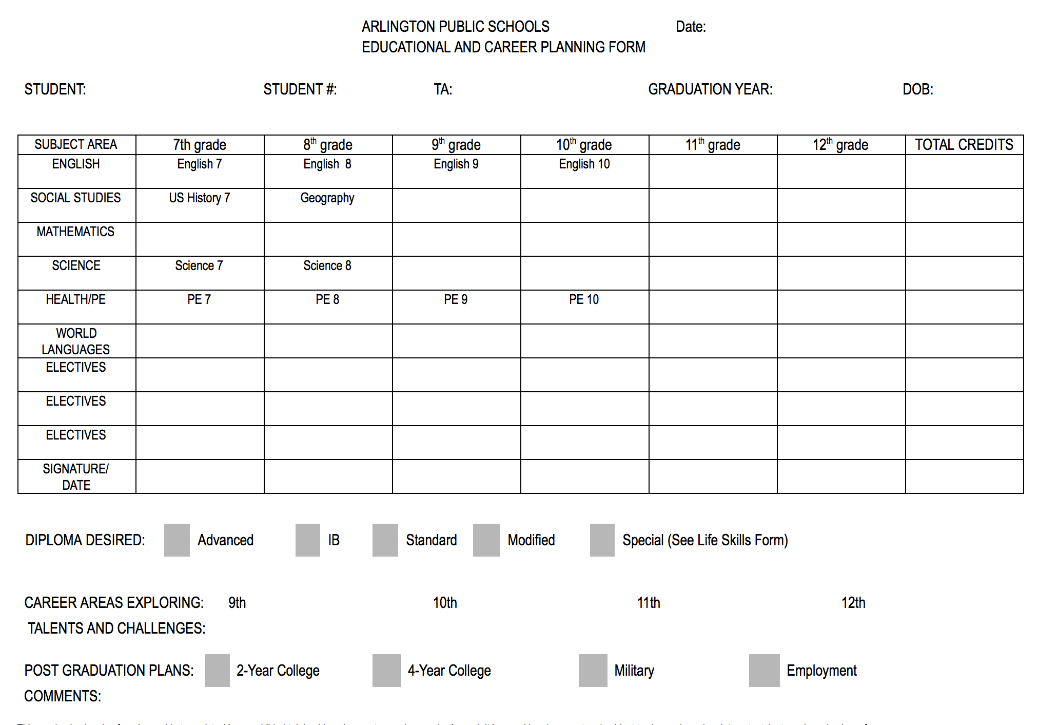 image of career planning form h b woodlawn