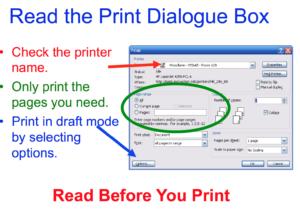 Read print dialogue box before printing