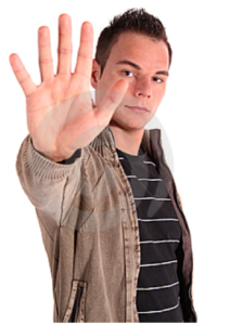 man with hand up saying stop
