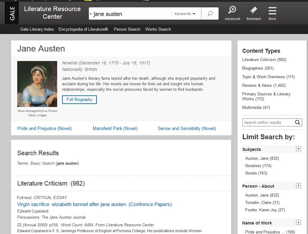Image showing the search results within Gale's Literature Resource Center. It displays a portrait of Jane Austen and facets in the sidebar to list the numbers of types of resources the database contains such as 962 essays of Literary Criticism, 261 Biographies, etc. It also provides a means to limit results further by applying subject, person or title filters.