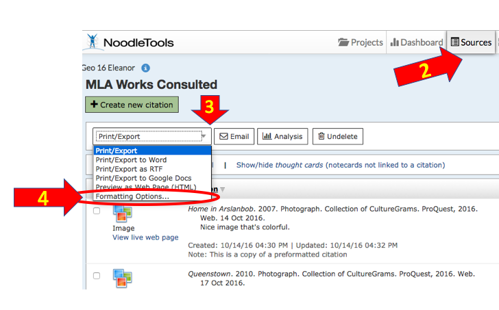 How to Export from NoodleTools