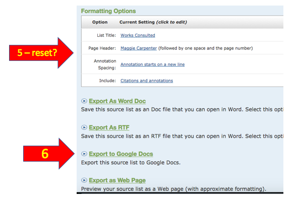 Exporting NoodleTools to Google