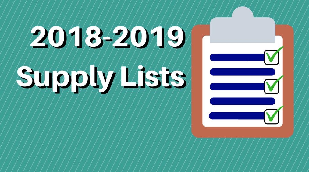 2018-2019 Supply Lists