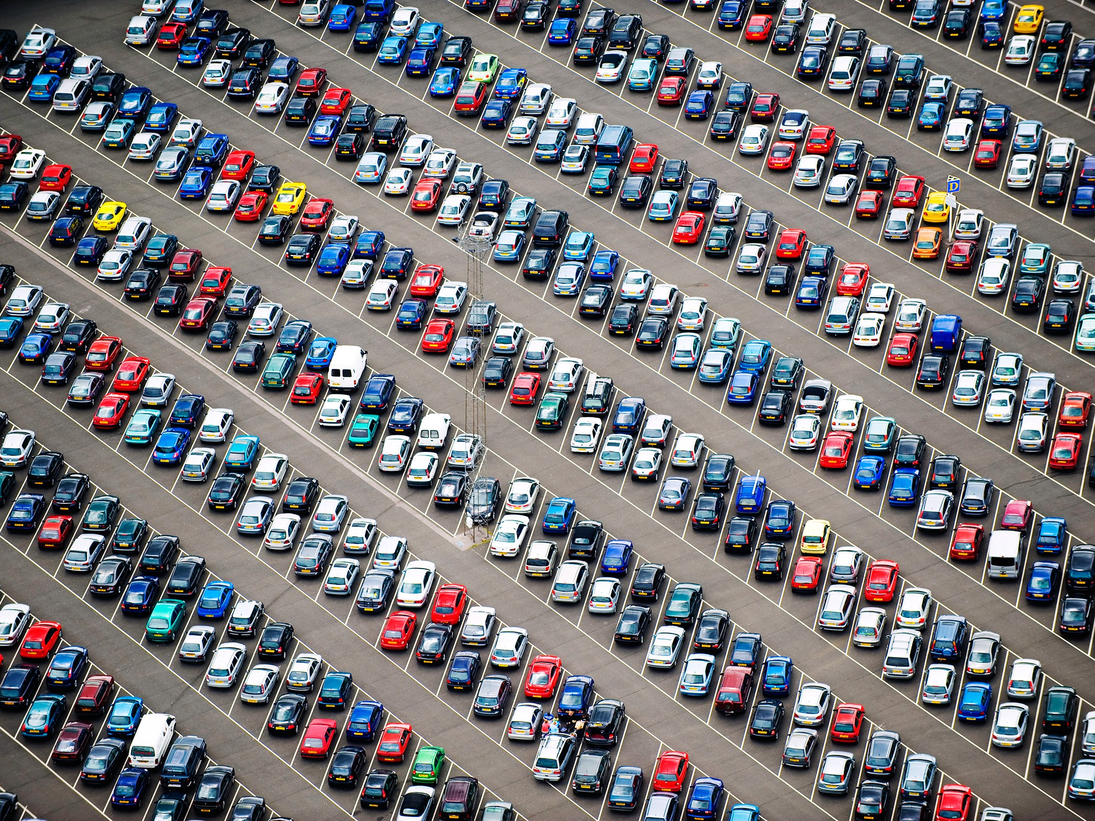 image of parking lot from above