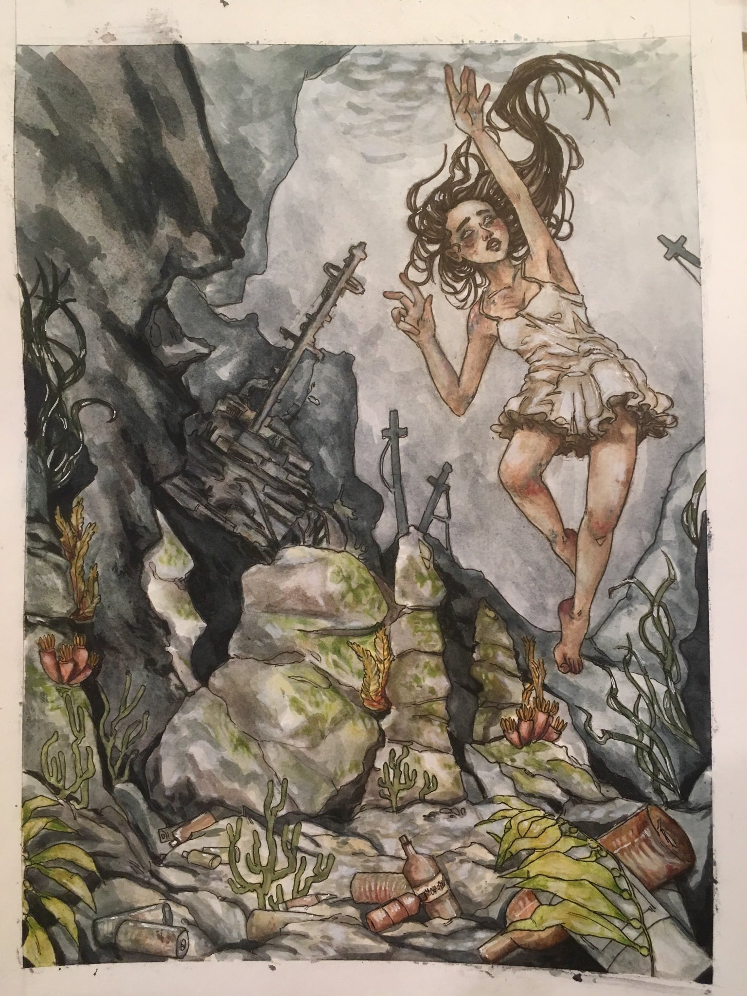 Painting of girl dorwning in the sea with rocks around her and a sword floating near her.
