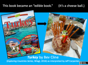 A book cover of a title called TURKEY is accompanied by a photo of a cheeseball in the shape of a turkey.