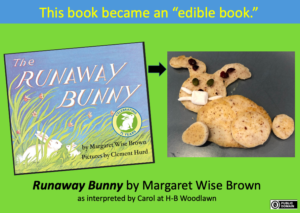 "The book called ""Runaway Bunny"" is depicted as a set of pancakes in the shape of a rabit in order to achieve an Edible Book. It was submitted by Carol at H-B Woodlawn."
