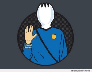 "Cartoon shows a spork in Star Trek costume with hand raised in the gesture that represents ""Live long and prosper"" greeting of Spock."