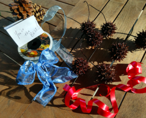 "Seed pods, ribbons and a note saying 'You are the Best"" are displayed as materials for creating an award."