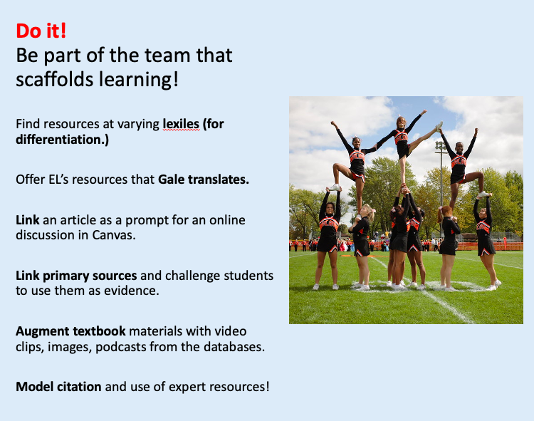 """A photo of cheerleaders in formation decorates a list that says, """"Do it! Be part of the team that scaffolds learning! Find resources at varying lexiles (for differentiation.) Offer EL's resources that Gale translates. Link an article as a prompt for an online discussion in Canvas. Link primary sources and challenge students to use them as evidence. Augment textbook materials with video clips, images, podcasts from the databases. Model citation and use of expert resources!"""""""