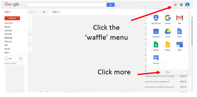 """Diagram shows the upper right hand corner as a point to access a menu whose icon is in the shape of a waffle. By clicking """"more"""" it accesses Noodletools."""